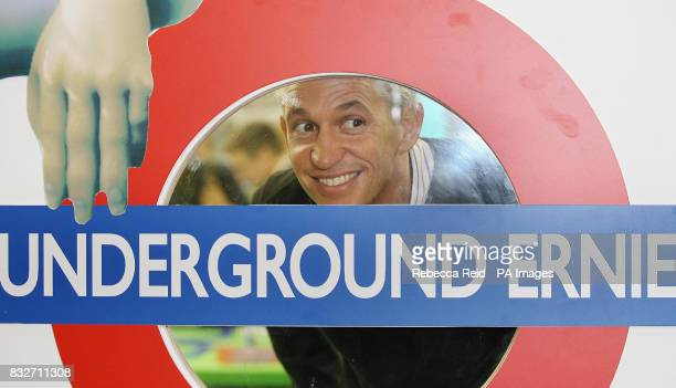 Former England captain Gary Lineker appears with Underground Ernie on the opening day of the toy fair at ExCel in east London