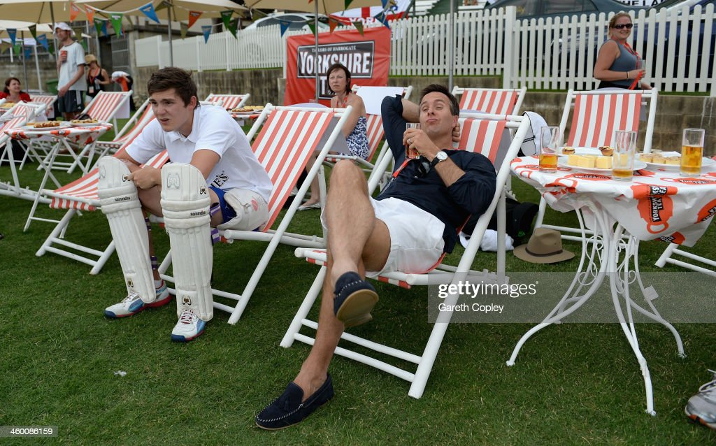Former England captain Michael Vaughan relaxes in a deckchair during the Yorkshire Tea Beach Party at Coogee Beach on January 2, 2014 in Sydney, Australia.