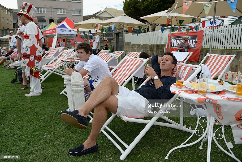 Former England captain <a gi-track='captionPersonalityLinkClicked' href=/galleries/search?phrase=Michael+Vaughan&family=editorial&specificpeople=179446 ng-click='$event.stopPropagation()'>Michael Vaughan</a> relaxes in a deckchair during the Yorkshire Tea Beach Party at Coogee Beach on January 2, 2014 in Sydney, Australia.
