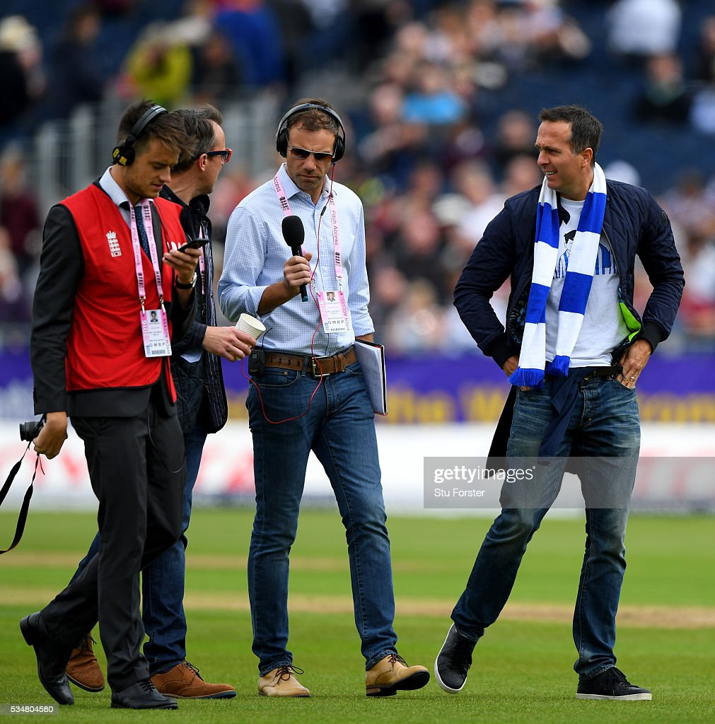 Former England captain <a gi-track='captionPersonalityLinkClicked' href=/galleries/search?phrase=Michael+Vaughan&family=editorial&specificpeople=179446 ng-click='$event.stopPropagation()'>Michael Vaughan</a> resplendent in his Sheffield Wednesday scarf and t-shirt ahead of day two of the 2nd Investec Test match between England and Sri Lanka at Emirates Durham ICG on May 28, 2016 in Chester-le-Street, United Kingdom.