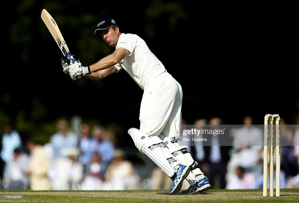 Former England Captain Michael Vaughn in action during Shane Warne's Australia vs <a gi-track='captionPersonalityLinkClicked' href=/galleries/search?phrase=Michael+Vaughan&family=editorial&specificpeople=179446 ng-click='$event.stopPropagation()'>Michael Vaughan</a>'s England T20 match at Cirencester Cricket Club on June 09, 2013 in Cirencester, England.