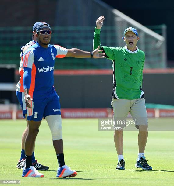 Former England captain Nasser Hussain acts as referee for the warm up football match during a nets session at St George's Park on February 5 2016 in...