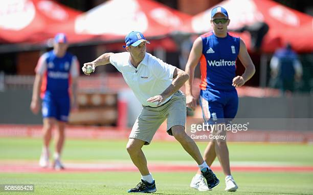 Former England captain Nasser Hussain takes part in a fielding drill during a nets session at St George's Park on February 5 2016 in Port Elizabeth...