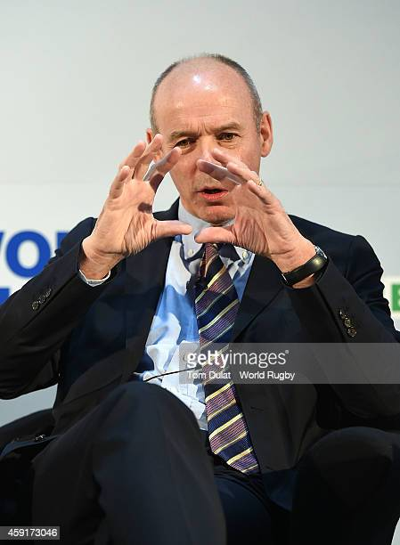 Former England Coach Clive Woodward talks to delegates during the iRB World Rugby Conference and Exhibition Day 2 at the London Hilton Metropole...