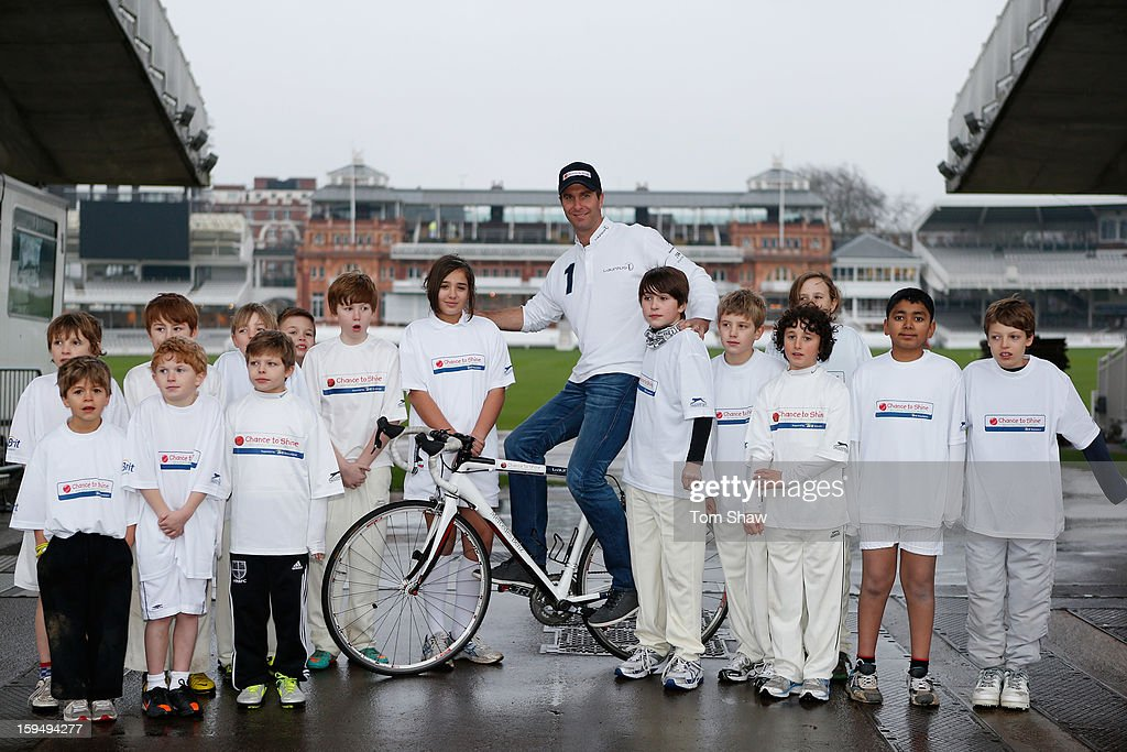 Former England cricket captain <a gi-track='captionPersonalityLinkClicked' href=/galleries/search?phrase=Michael+Vaughan&family=editorial&specificpeople=179446 ng-click='$event.stopPropagation()'>Michael Vaughan</a> poses for a picture with children from Chance to Shine to launch the <a gi-track='captionPersonalityLinkClicked' href=/galleries/search?phrase=Michael+Vaughan&family=editorial&specificpeople=179446 ng-click='$event.stopPropagation()'>Michael Vaughan</a> Charity Bike Ride to raise funds for the Laureus Sport for Good Foundation and Chance to Shine, on January 14, 2013 in London, England.