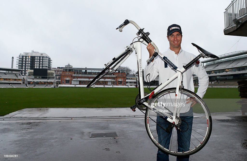 Former England cricket captain Michael Vaughan poses for a picture to launch the Michael Vaughan Charity Bike Ride to raise funds for the Laureus Sport for Good Foundation and Chance to Shine, on January 14, 2013 in London, England.