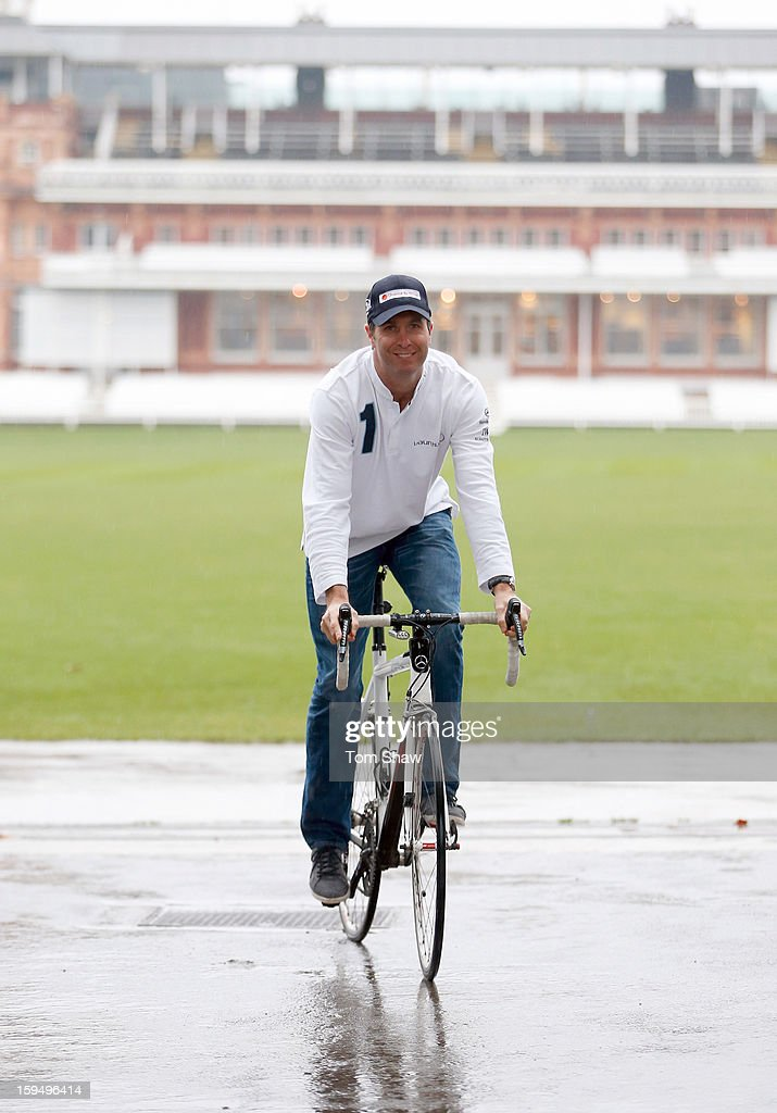 Former England cricket captain <a gi-track='captionPersonalityLinkClicked' href=/galleries/search?phrase=Michael+Vaughan&family=editorial&specificpeople=179446 ng-click='$event.stopPropagation()'>Michael Vaughan</a> poses for a picture to launch the <a gi-track='captionPersonalityLinkClicked' href=/galleries/search?phrase=Michael+Vaughan&family=editorial&specificpeople=179446 ng-click='$event.stopPropagation()'>Michael Vaughan</a> Charity Bike Ride to raise funds for the Laureus Sport for Good Foundation and Chance to Shine, on January 14, 2013 in London, England.