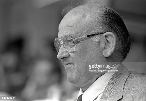 Former England cricketer Frank Tyson in the press box during the 3rd Test match between Australia and England at Adelaide Australia 12th December 1986