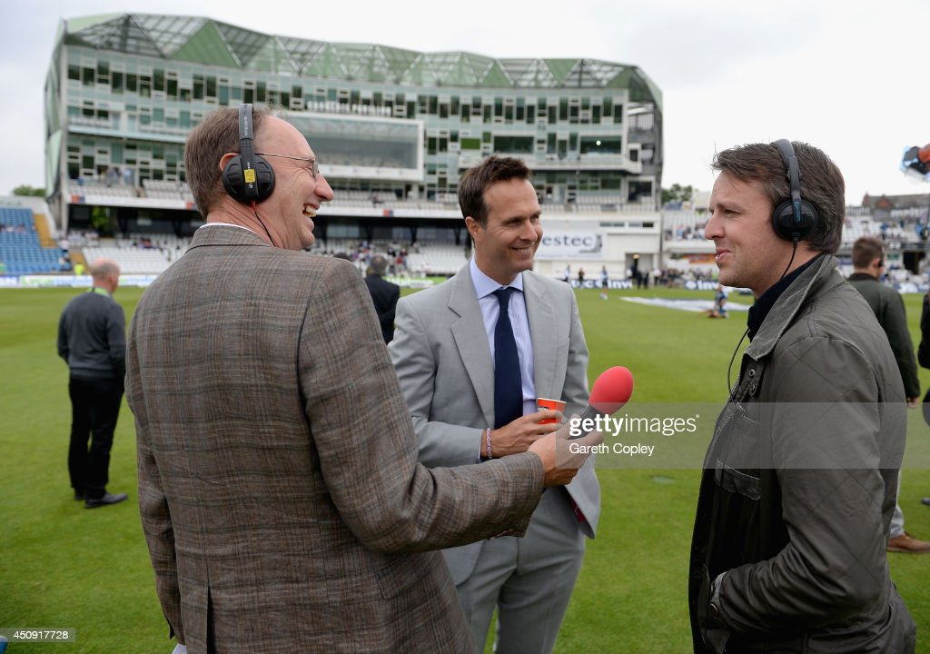 Former England cricketer Graeme Swann speaks with Test Match Special commentators Jonathan Agnew and Michael Vaughan ahead of day one of 2nd Investec...