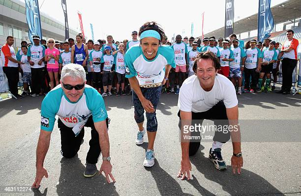 Former England football manager Kevin Keegan Dame Kelly Holmes of Great Britain and Nicolas Hopton British Ambassador to Qatar prepare to race in the...