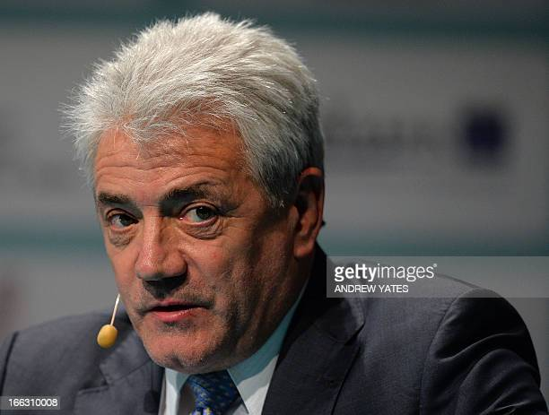 Former England football manager Kevin Keegan speaks during the Soccerex European Forum in Manchester northwest England on April 11 2013 Soccerex is a...