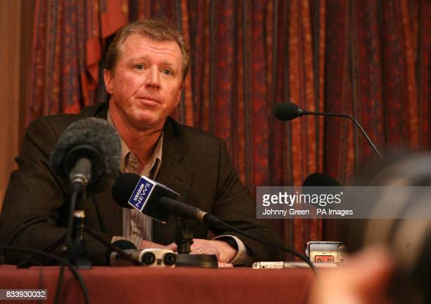 Former England football manager Steve Mc Claren answers questions from the media during a press conference at the Sopwell House Hotel St Albans