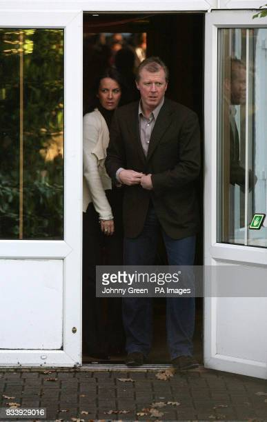 Former England football manager Steve McClaren and his wife Kathryn leave Sopwell House Hotel St Albans after a press conference