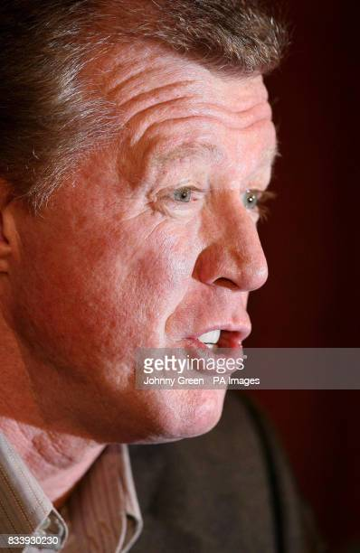 Former England football manager Steve McClaren answers questions from the media during a press conference at the Sopwell House Hotel St Albans
