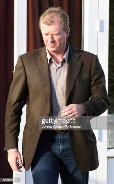Former England football manager Steve McClaren leaves after a press conference at the Sopwell House Hotel St Albans