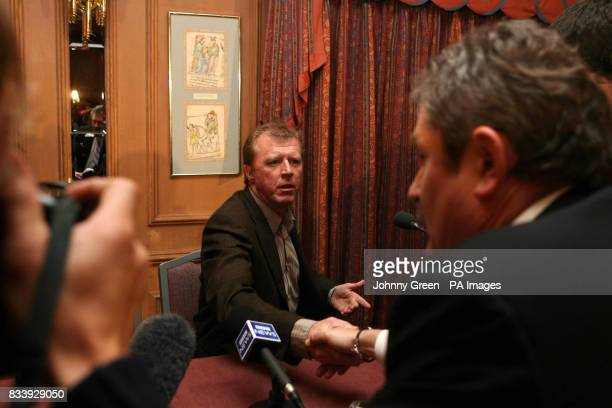 Former England football manager Steve McClaren shakes hands with a journalist following a press conference at the Sopwell House Hotel St Albans