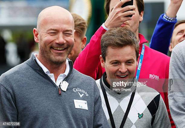 Former England footballer Alan Shearer and TV presenter Declan Donnelly watch the Mega Putt Challenge ahead of the BMW PGA Championship at Wentworth...