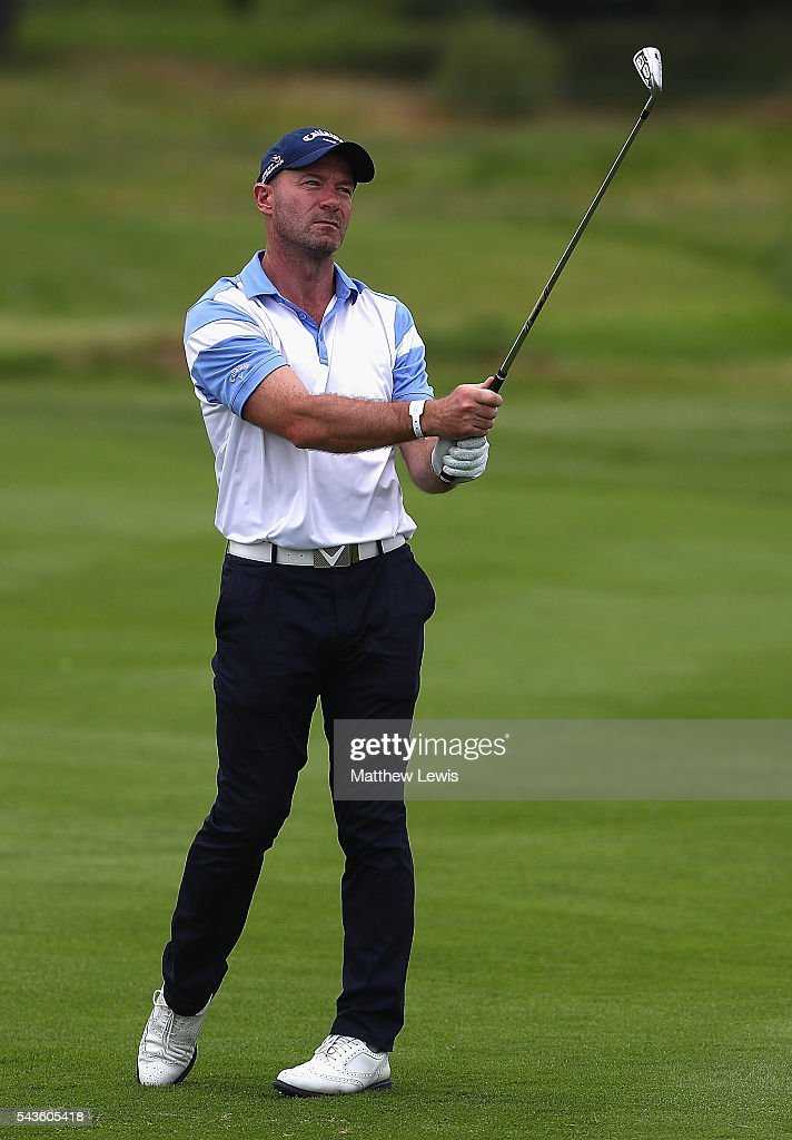 Former England footballer Alan Shearer in action during a pro-am round ahead of the 100th Open de France at Le Golf National on June 29, 2016 in Paris, France.