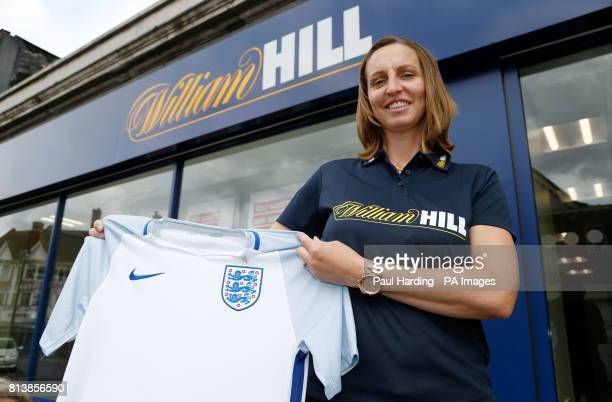 Former England footballer Faye White poses for a picture during a photocall outside the William Hill betting store on High Road Wembley PRESS...