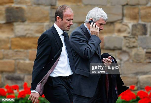 Former England footballers Alan Shearer and Terry McDermott arrive before the Sir Bobby Robson Memorial Service at Durham Cathedral on September 21...