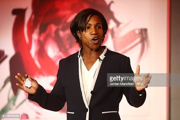 Former England International and RFU Council member Maggie Alphonsi talks during the RFU Women's Rugby Unveiling at Twickenham Stadium on October 5...