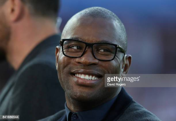Former England international now BT Sport rugby pundit Ugo Monye looks on during the Aviva Premiership match between Gloucester Rugby and Exeter...