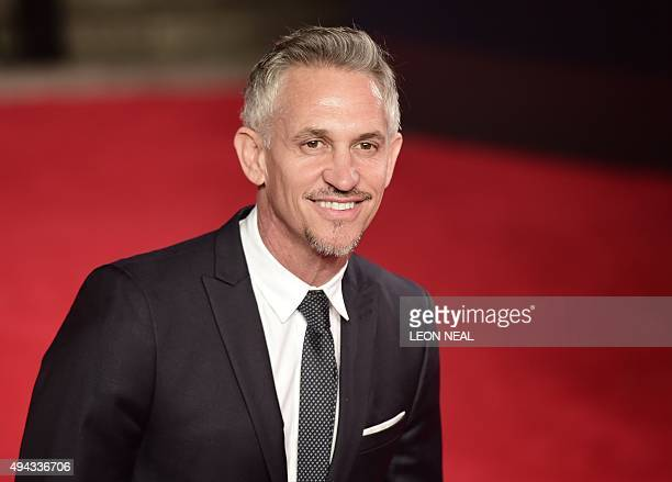 Former England internatonal Gary Lineker poses on arrival for the world premiere of the new James Bond film 'Spectre' at the Royal Albert Hall in...