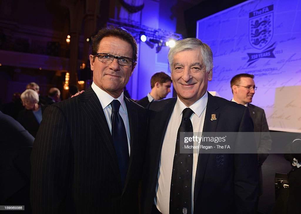 Former England manager <a gi-track='captionPersonalityLinkClicked' href=/galleries/search?phrase=Fabio+Capello&family=editorial&specificpeople=241290 ng-click='$event.stopPropagation()'>Fabio Capello</a> (L) poses with FA Chairman <a gi-track='captionPersonalityLinkClicked' href=/galleries/search?phrase=David+Bernstein&family=editorial&specificpeople=6425521 ng-click='$event.stopPropagation()'>David Bernstein</a> during the official launch to mark the FA's 150th Anniversary Year at the Grand Connaught Rooms on January 16, 2013 in London, England.