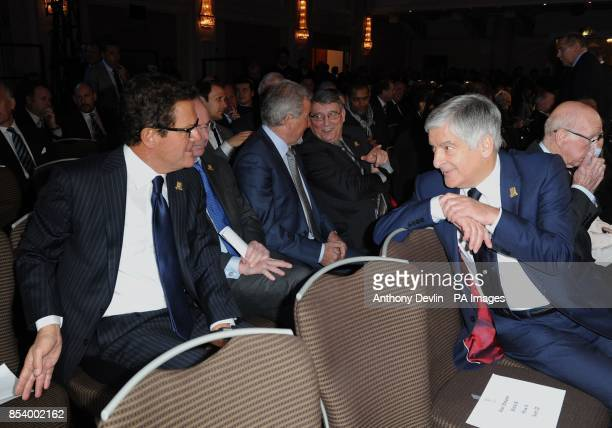 Former England manager Fabio Capello speaks to Chairman of the FA David Bernstein during the FA Anniversary Celebrations Launch at the Grand...