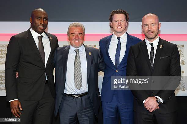 Former England manager Terry Venables poses with Sol Campbell Steve McManaman and Alan Shearer during the official launch to mark the FA's 150th...