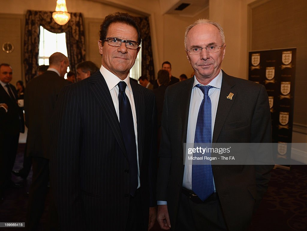Former England managers <a gi-track='captionPersonalityLinkClicked' href=/galleries/search?phrase=Fabio+Capello&family=editorial&specificpeople=241290 ng-click='$event.stopPropagation()'>Fabio Capello</a> (L) and <a gi-track='captionPersonalityLinkClicked' href=/galleries/search?phrase=Sven-Goran+Eriksson&family=editorial&specificpeople=240617 ng-click='$event.stopPropagation()'>Sven-Goran Eriksson</a> attend the official launch to mark the FA's 150th Anniversary Year at the Grand Connaught Rooms on January 16, 2013 in London, England.