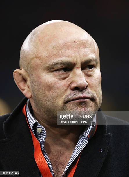 Former England player Brian Moore looks on prior to the RBS Six Nations match between Wales and England at Millennium Stadium on March 16 2013 in...