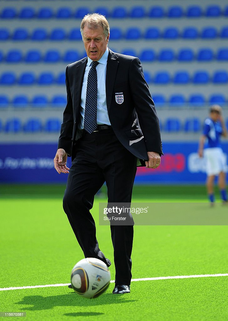 Former England player Sir <a gi-track='captionPersonalityLinkClicked' href=/galleries/search?phrase=Geoff+Hurst&family=editorial&specificpeople=206880 ng-click='$event.stopPropagation()'>Geoff Hurst</a> in action at the Opening Ceremony of Dalga stadium which will be a venue for the FIFA U17 WWC 2012 during a visit to mark 100 years of Football in Azerbaijan on June 6, 2011 in Baku, Azerbaijan.