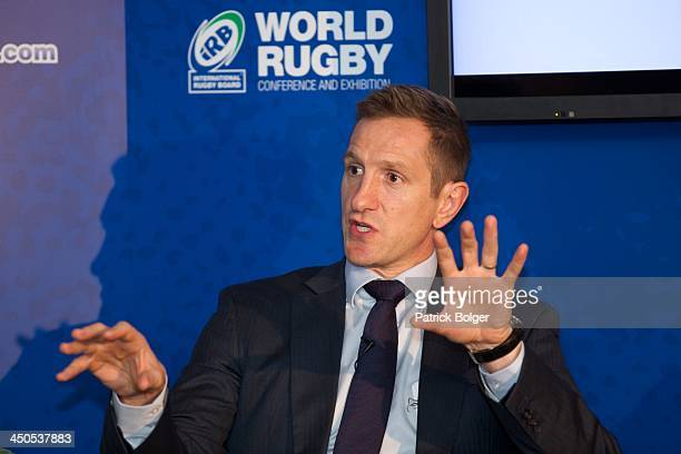 Former England player Will Greenwood speaks at the iRB World Rugby Conference and Exhibition in the Ballsbridge Hotel on November 19 2013 in Dublin...