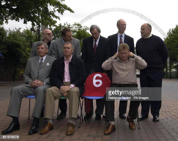 Former England players Back Row Nobby Stiles Roger Hunt Gordon Banks Jack Charlton George Cohen Front Row Martin Peters Geoff Hurst Alan Ball during...