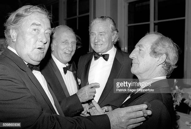 Former England players Denis Compton Sir Leonard Hutton and Bill Edrich with Keith MIller of Australia at the 80th birthday dinner for Gubby Allen at...