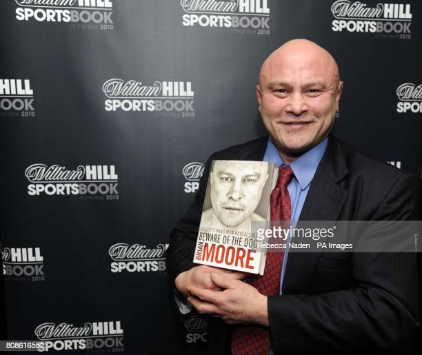 Former England rugby player Brian Moore with his book 'Beware of the dog Rugby's Hard Man Reveals All' after winning the William Hill Sportsbook of...