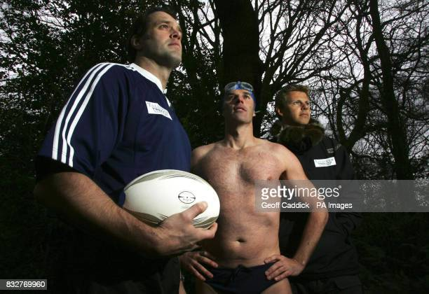 PICTURE Former England rugby player Martin Bayfield recordbreaking endurance swimmer Lewis Gordon Pugh and explorer Tom Avery at Hampstead Heath...