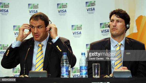 Former England rugby union captain Martin Johnson sits along side former Australia captain John Eales during a press confrence at the Visa Rugby...