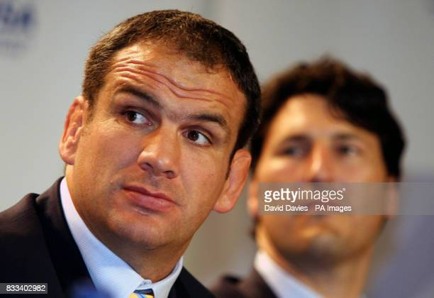 Former England rugby union captain Martin Johnson with former Australia captain John Eales during a press confrence at the Visa Rugby Legends Event...