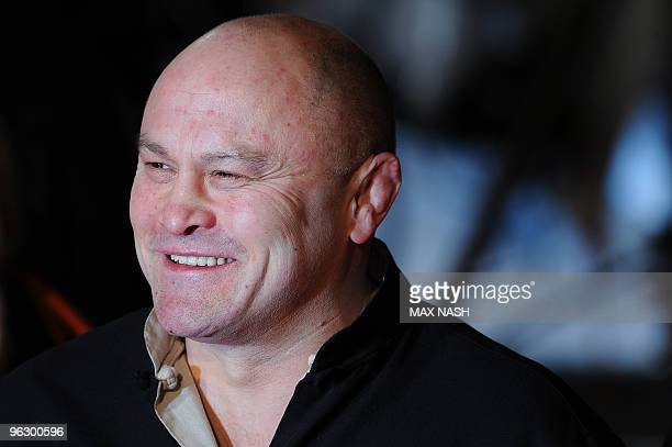 Former England Rugby Union player Brian Moore arrives in London's Leicester Square on January 31 to attend the British Premiere of his latest film '...