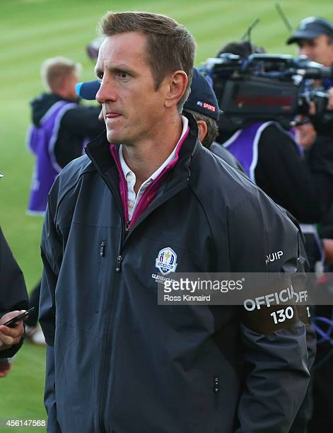Former England Rugby Union player Will Greenwood attends the Afternoon Foursomes of the 2014 Ryder Cup on the PGA Centenary course at the Gleneagles...
