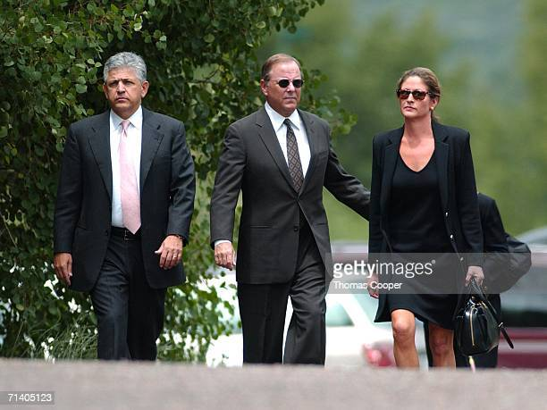 Former Enron CEO Jeff Skilling his wife Rebecca Carter and attorney Daniel Petrocelli walk to the Aspen Chapel for a memorial service for former...