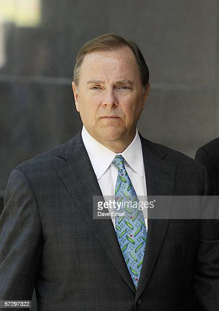Former Enron CEO Jeff Skilling leaves the Bob Casey US Courthouse for the midday break during his fraud and conspiracy trial April 10 2006 in Houston...