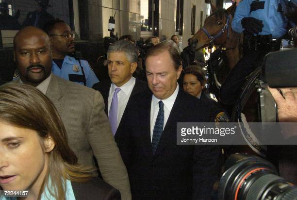 Former Enron CEO Jeffrey Skilling walks with his attorney Daniel Petrocelli to the federal courthouse for his sentencing hearing October 23 2006 in...