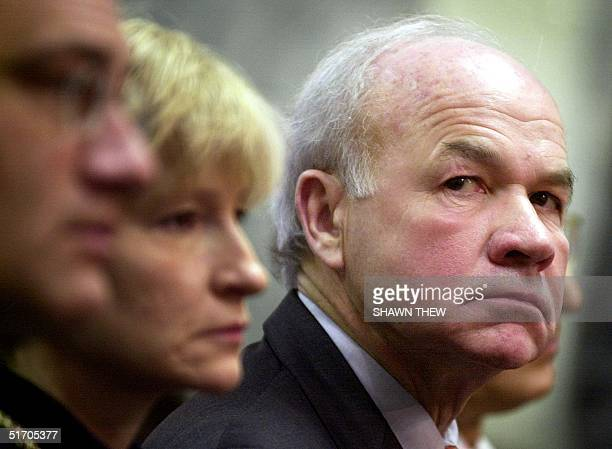 Former Enron CEO Ken Lay listens to opening statements 11 February 2002 before the Senate Committee on Commerce Science and Transportation on Capitol...