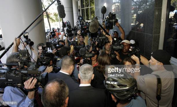 Former Enron CFO Andrew Fastow is surrounded by media as he arrives at the Bob Casey US Courthouse for sentencing from his conviction related to the...
