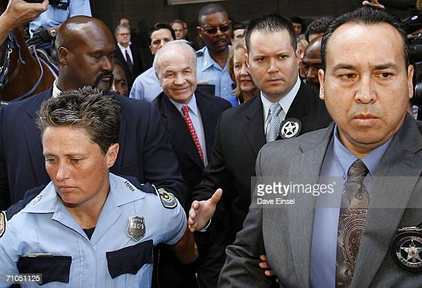 Former Enron chairman Kenneth Lay leaves the Bob Casey US Courthouse after his fraud and conspiracy trial May 25 in Houston Texas After six days of...
