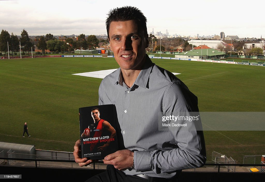 Former Essendon AFL player <a gi-track='captionPersonalityLinkClicked' href=/galleries/search?phrase=Matthew+Lloyd&family=editorial&specificpeople=171673 ng-click='$event.stopPropagation()'>Matthew Lloyd</a> poses for the media at the launch of his book 'Straight Shooter' at Windy Hill on July 21, 2011 in Melbourne, Australia.