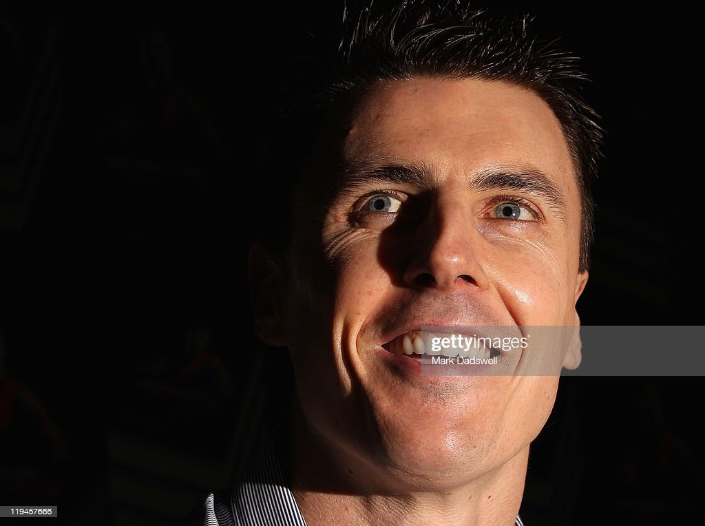 Former Essendon AFL player Matthew Lloyd speaks to the media at the launch of his book 'Straight Shooter' at Windy Hill on July 21 2011 in Melbourne...